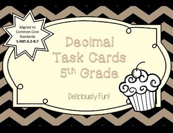 Decimal Task Cards Grade 5 - Centers, Review Game, or Test Prep