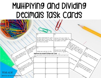 Decimal Task Cards- Multiplication and Division- self checking!