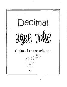 Decimal True False Sort (A Common Core Game)