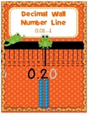 Decimal Wall Number Line 0.01--1 with Word Cards and Frogs