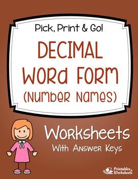 Decimal Word Form Worksheets with Answer Keys - Decimal Pl