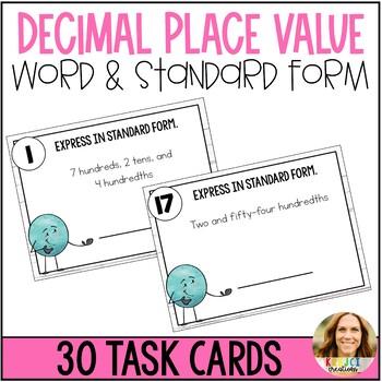 Decimal Word Form to Standard Form Task Cards