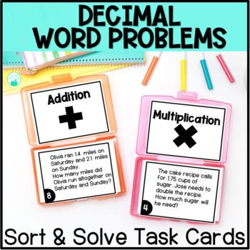Decimal Word Problem Operations Sort & Solve