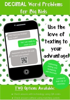 Decimal Word Problems w/ Text Messaging & QR Codes