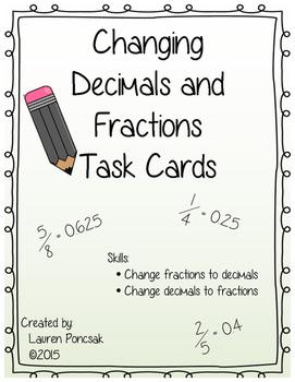 Decimal and Fraction Task Cards