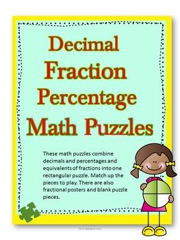 Decimal, fraction, percentage math puzzles.