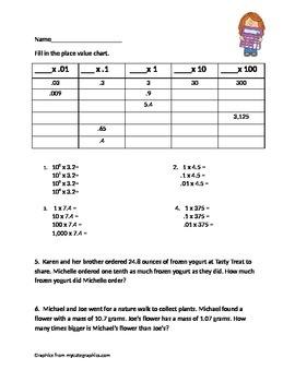 Decimal multiplication by powers of ten