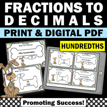 Fractions as Decimals to the Hundredths 4th Grade Task Car