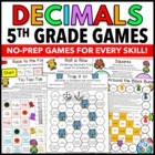 5th Grade Math Centers: 5th Grade Decimals Games (5.NBT.3, 5.NBT.4)