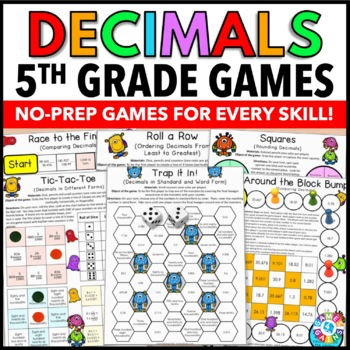 5th Grade Math Centers: 5th Grade Decimals Games {5.NBT.3,