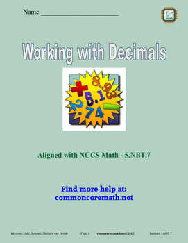 Decimals - Add, Subtract, Multiply, Divide - 5.NBT.7