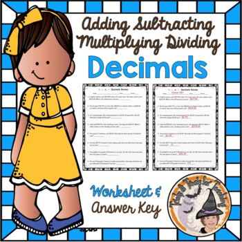 Decimals Add Subtract Multiply Divide Review Word Problems
