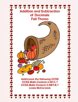 Decimals-Adding and Subtracting Tenths & Hundredths- Fall Theme