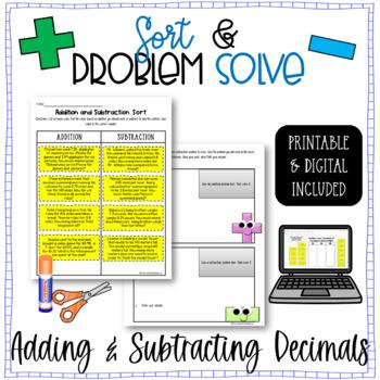 Decimals - Adding and Subtracting Word Problems Sort & Sol