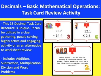 Decimals - Four Basic Operations Task Card REVIEW GAME - {