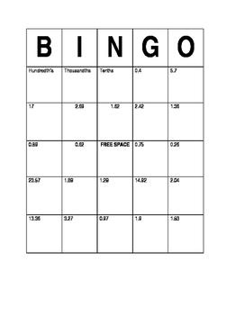 Decimals Bingo