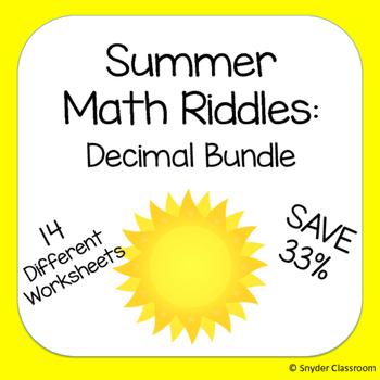 Summer Decimals Math Riddle Bundle