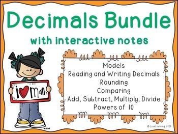 Decimals Bundle {Lessons, Worksheets, Assessments, Interac