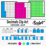 Decimals Clip Art ~ Neon Colors ~ Fractions & Decimals Clipart