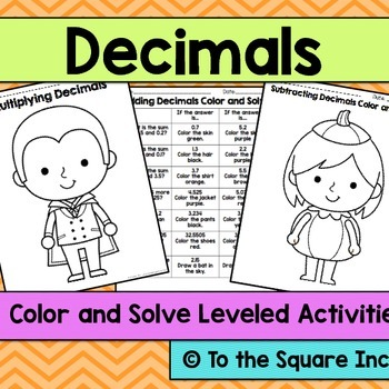 Decimals Color and Solve Halloween Pictures
