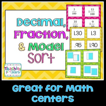 5th Grade Math Centers: Decimals, Fractions, & Models Sort