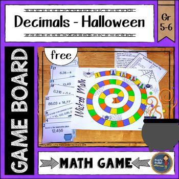 Halloween Decimals Board Game {FREE}