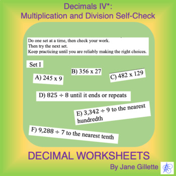 Decimals IV: Multiplication and Division Self-Check
