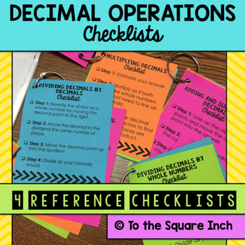 Decimals Operations Checklists