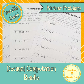 Decimals Partner Problems Combo Pack