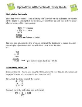 Decimals Study Guide