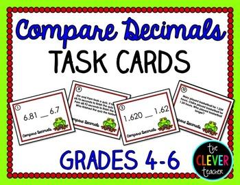 Comparing Decimals Task Cards