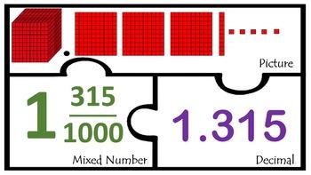 Decimals Thousandths with Base Ten blocks Match Math cente