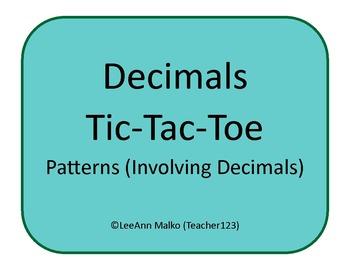 Decimals Tic-Tac-Toe - Patterns (Involving Decimals)