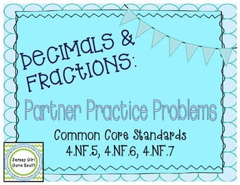 Decimals and Fractions Partner Practice Activity Task Card