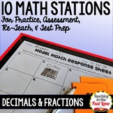 Decimals and Fractions Test Prep Math Stations