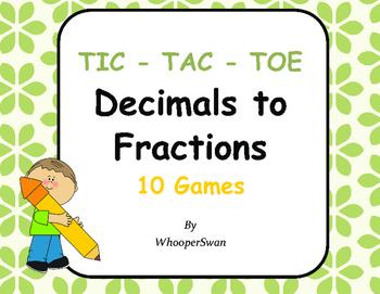 Convert Decimals to Fractions Tic-Tac-Toe