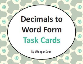 Decimals to Word Form Task Cards