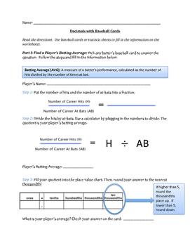 Decimals with Baseball Cards & Statistics