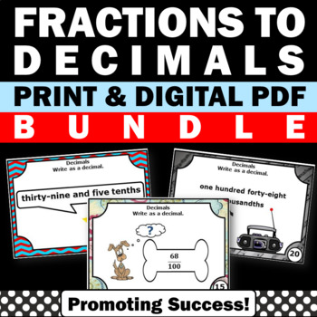 Fractions to Decimals 4th & 5th Grade Common Core Math Gam