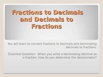 Decimas to Fractions
