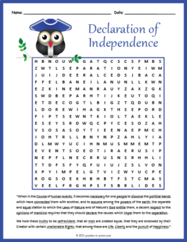 Declaration of Independence Word Search