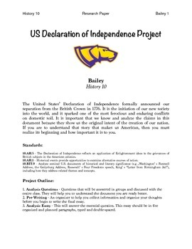 Declaration of Independence Analysis Essay Packet
