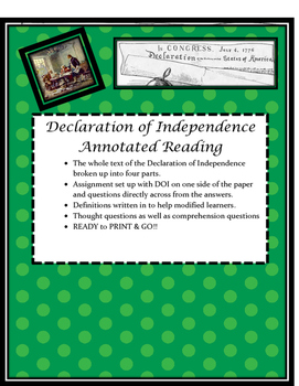 Declaration of Independence Annotated Reading