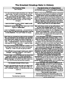 Declaration of Independence Breakup Note Handout
