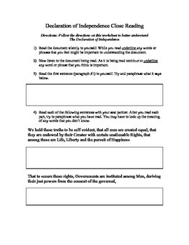Declaration of Independence - Close Reading