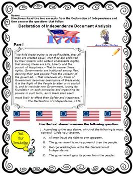 Declaration of Independence Primary Source Analysis
