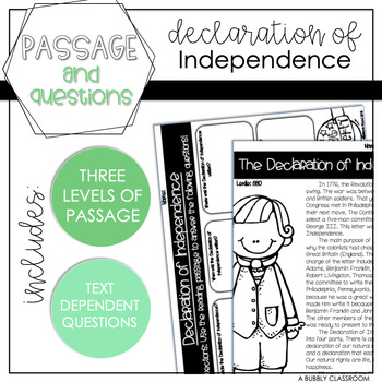 Declaration of Independence Reading Passage & Questions {4