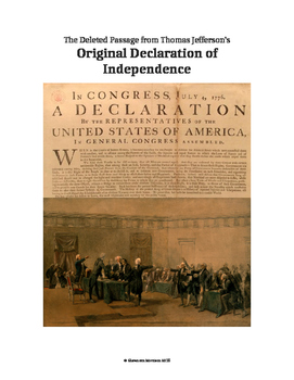 Declaration of Independence - Thomas Jefferson's Deleted Passage