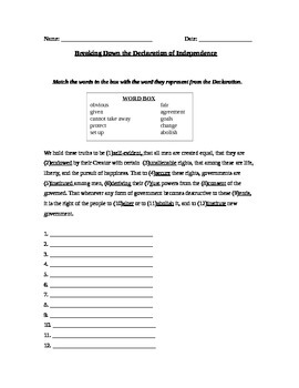 Government: Declaration of Independence Vocabulary and Grievances