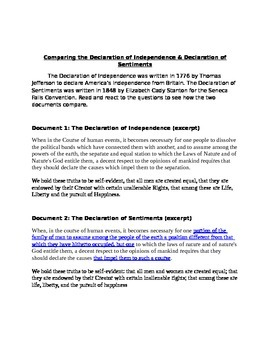 Declaration of Independence and Declaration of Sentiments
